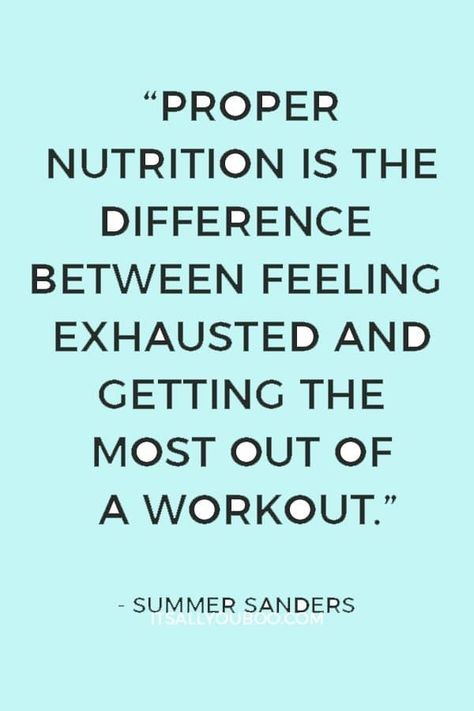 """""""Proper nutrition is the difference between feeling exhausted and getting the most out of a workout"""" — Summer Sanders. Click here for your list of all the best fitness foods for before and after your workout for muscle recovery. #FitnessQuotes #HealthQuotes #HealthyLife #HealthyBody #HealthFitness #GetHealthy #MindBodySpirit #Wellness #Food #EatClean #Eating #HealthyHabits #Healthy #HealthyLiving #HealthyLifestyle"""