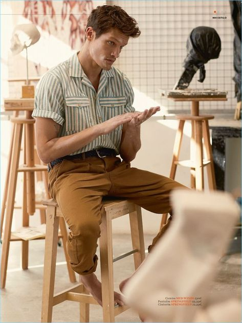 Danny Beauchamp Channels His Inner Artist for Mens Health España Men Looks, Mens And Health, Stylish Mens Outfits, Outfits For Men, Clothes For Men, Style Clothes, Latest Mens Fashion, Male Fashion, British Mens Fashion