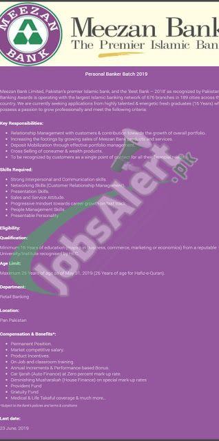 Meezan Bank Jobs 2019 Personal Banker Batch Apply Online