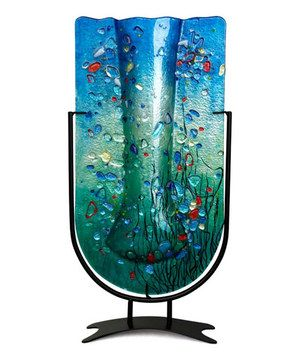 Blue Turquoise Large U Vase Glass Art Projects Glass Art Pictures Art Glass Jewelry
