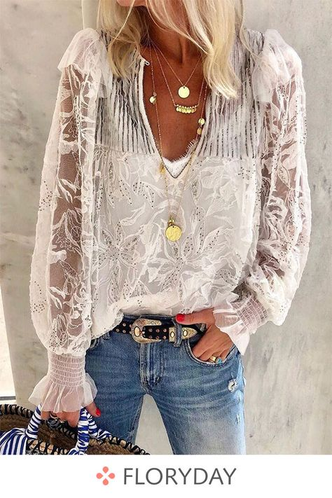 Solid V-neckline long sleeve blouses, lace blouses, sweet, fashion.