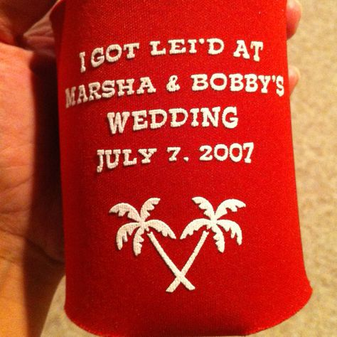 Beer Koozie favors handed out as favors at our Hawaiian wedding