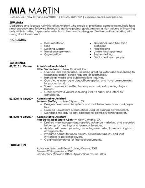 For Administrative Assistant Resumes Administrative