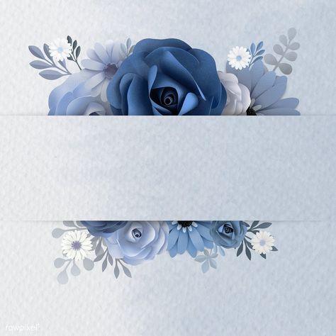 Blue paper craft flower banner illustration   premium image by rawpixel.com / ploy