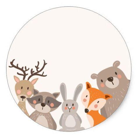Woodland baby shower favor tag Sticker Animals Fox | Zazzle.com