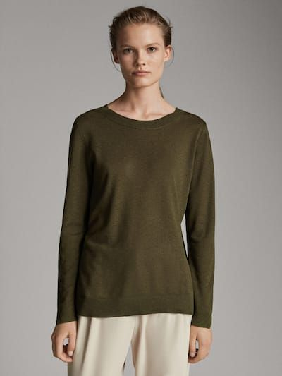 Odnotonnyj Sviter Iz Shelka I Shersti Dlya Zhenshin Massimo Dutti Wool Sweaters Womens Sweaters Autumn Clothes