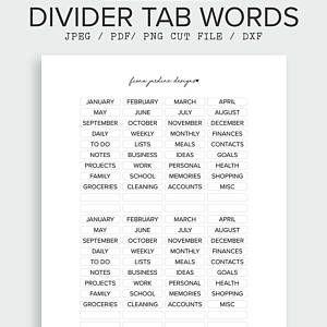Planner Dividers Planner Tabs Transparent Planner Tabs Planner Labels Minimal Planner Stickers