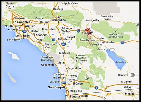 map of palm springs CA - Google Search   Palm springs map ...