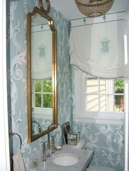 Soft Draped Shade With Monogram Beaded Trim And Button At Header Traditional Powder Room By Kev Powder Room Design Bathroom Window Treatments Bathroom Style