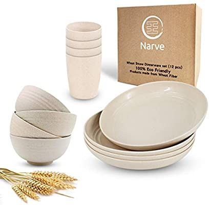 amazon com wheat straw dinnerware sets