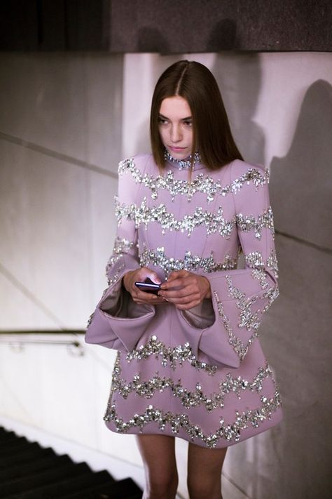 Crystal embellished pink sixties dress backstage at Dice Kayek Haute Couture.