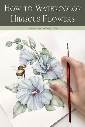 """These realistic pale blue watercolor hibiscus flowers and leaves are a slight continuation of our realistic bumble bee tutorial—except without an actual bumble bee being created! In this video tutorial, I will teach you how to watercolor hibiscus flowers—I""""m sure you'll enjoy the process as much as I did! #watercolortutorial #watercolortechniques #watercolorflowers #howtopaint"""