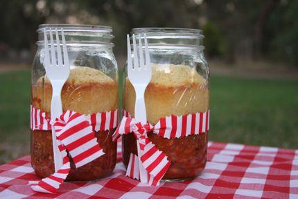 Mason Jar Food Wedding Ideas-chili and cornbread in a jar