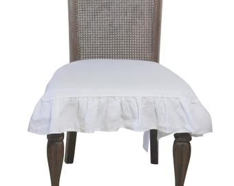 Farmhouse Style 100/% Linen Chair Seat Cover Slipcover in Natural