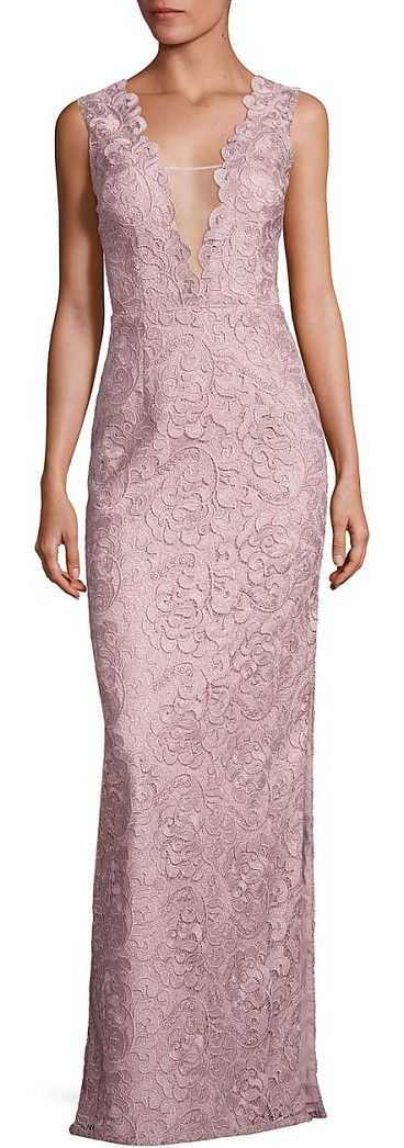 Aidan Mattox Sequin Long Column Gown with Illusion Insets and Back ...
