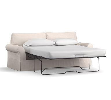 Pb Comfort Roll Arm Slipcovered Sleeper Sofa Box Edge Memory Foam Cushions Performance Heathered Tweed Graphite Sofas And Arms