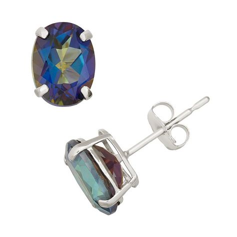 Mystic Topaz 10k White Gold Oval Stud Earrings Products