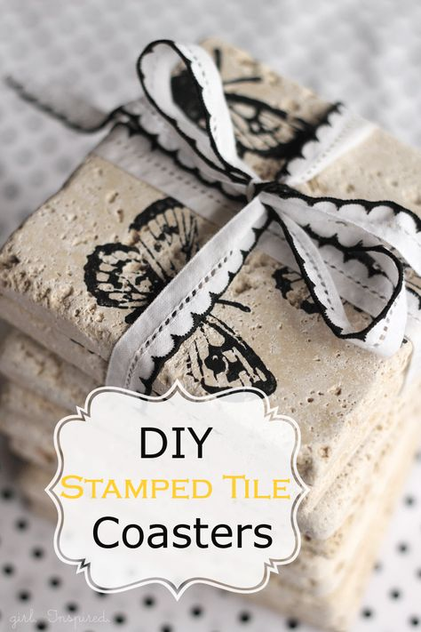 Stamped Tile Coasters Tutorial by Girl. Inspired.