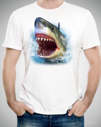 3D shark t shirt white creative unique t shirts for men XXXL- | 3D ...