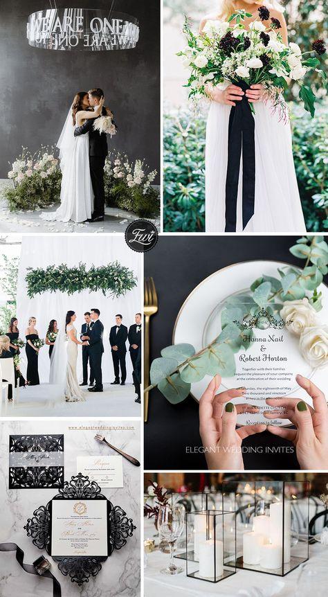 cool modern black and white organic wedding color and invitations #weddingthemes #weddingcolors #elegantweddinginvitations