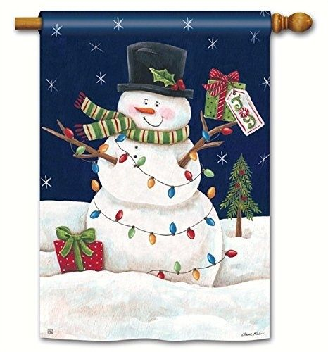 Christmas Snowman Lights Vertical House Banner In 2020 Christmas House Flag Decor Winter Flags