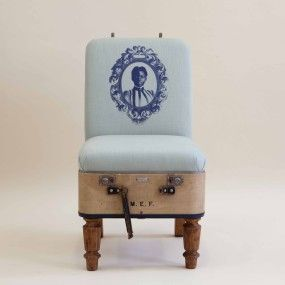 recreate furniture. recreate from katie thompson is a series of furniture made mundane objects upholstered with fine prints seeing suitcases heatboxes and milk pails recreate n