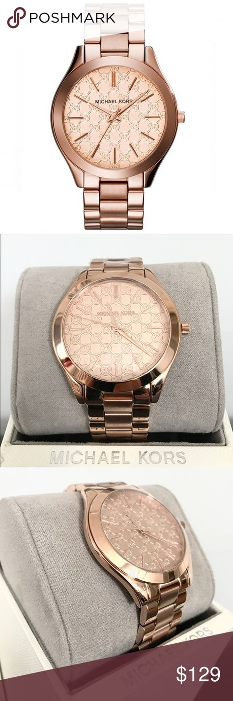6861a4c9f248 New Authentic MK rose gold tone slim runaway watch Michael Kors MK3336 Slim  Runway Monogram Rose