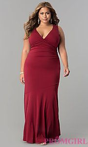 9f5b730b651 Plus-Size Empire-Waist Long Ruched Formal Dress