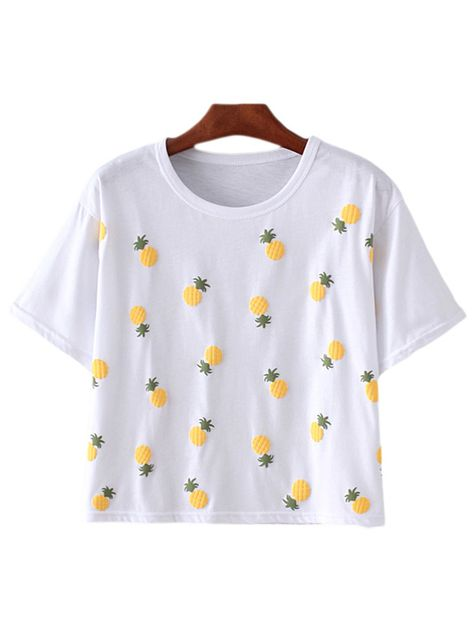Shop White Short Sleeve Pineapples Pattern T-shirt online. SheIn offers White Short Sleeve Pineapples Pattern T-shirt & more to fit your fashionable needs.