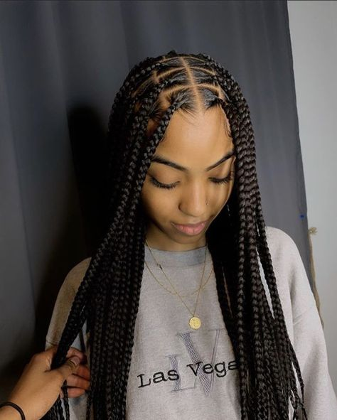 # feed in dutch Braids Long Braids Makeup Tools Box Braids Hairstyles, Braided Hairstyles For Black Women, Baddie Hairstyles, Protective Hairstyles, Protective Style Braids, Protective Styles, Natural Black Hairstyles, Hairstyles Games, African American Braided Hairstyles