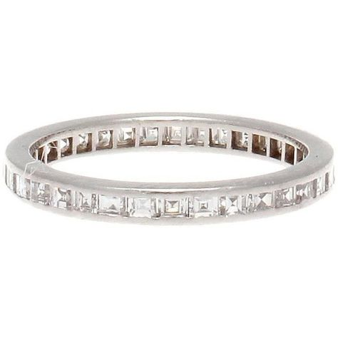 Preowned Square Emerald Cut Diamond Platinum Eternity Band Ring (£1,905) ❤ liked on Polyvore featuring jewelry, rings, green, square cut diamond ring, green ring, square rings, eternity ring and emerald cut eternity ring