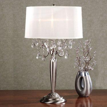 Silver Teardrop Metal Table Lamp With Bulbs Metal Table Lamps Table Lamp Crystal Table Lamps