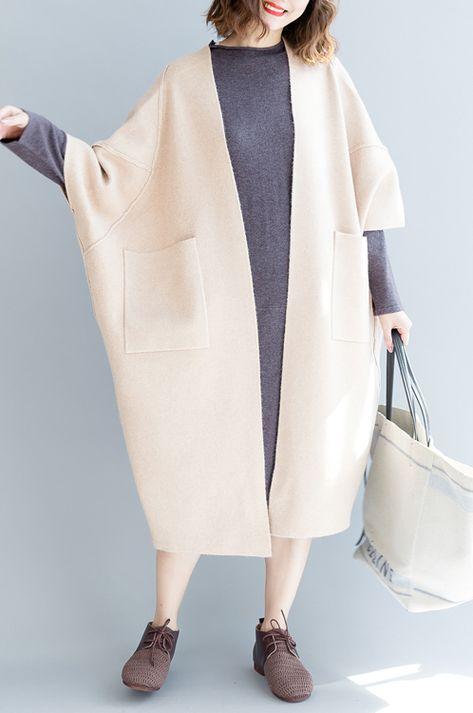 2018 beige white  Coats oversize wild Coats Elegant big pockets coats