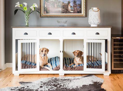 Custom Hardwood Double Dog Kennel Furniture With Drawers Diy Dog