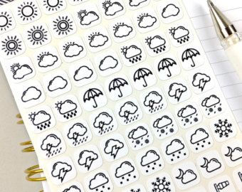 Weather Stickers Planner Stickers Bullet Journal Stickers Stickers Black And White Icon Size Bullet Journal Stickers Vinyl Sticker Paper Journal Stickers