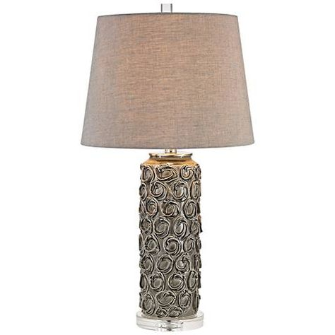 Dimond Rosette Gray Ceramic Floral Table Lamp #9W325