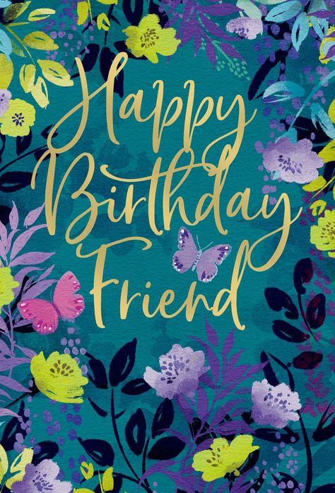 Friendship Birthday Card Floral Frame