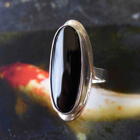 Black Onyx Ring Bohemian Large Oval Flat Disc by UnquietStones