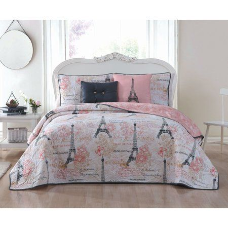 Avondale Manor Amour 4pc Quilt Set Walmart Com Paris Themed Bedroom Bedroom Set Bedroom Themes