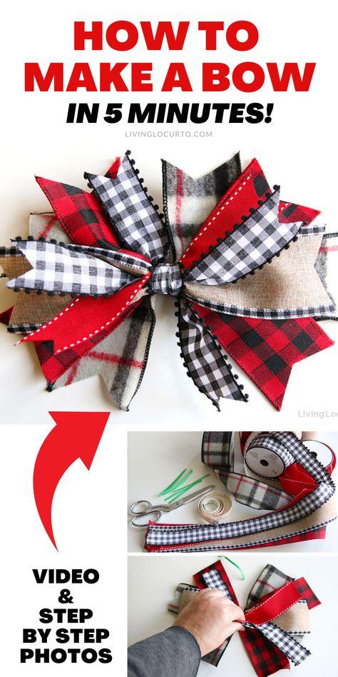Wreath Crafts, Diy Wreath, Wreath Bows, Make A Wreath Bow, Making Ribbon Bows, Making A Bow, Bow Making Tutorials, Deco Mesh Crafts, Mesh Ribbon Wreaths