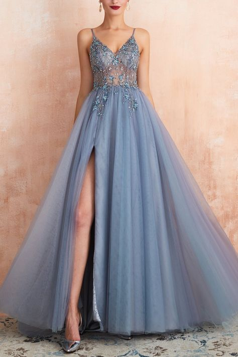V-neck Grey Pink Tulle Dress Tulle Prom Dress, Pretty Prom Dresses, Homecoming Dresses, Grad Dresses Long, Grey Prom Dress, Long Slit Dress, Prom Dresses Flowers, Amazing Prom Dresses, Light Blue Prom Dresses