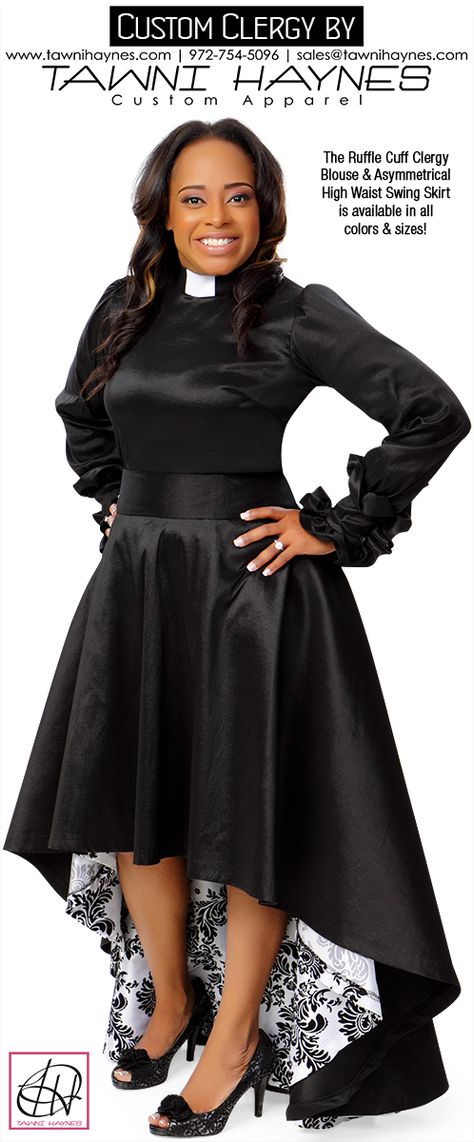 Feminine Clergy by Tawni Haynes! Order @ http://shop.tawnihaynes.com/product-p/ruffle-cuff-clergy-blouse.htm or call 972-754-5096. Available in all colors & sizes. Group orders welcome!
