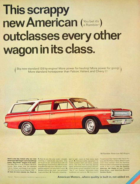 1966 Ad Vintage Rambler American 440 Station Wagon Red White Car