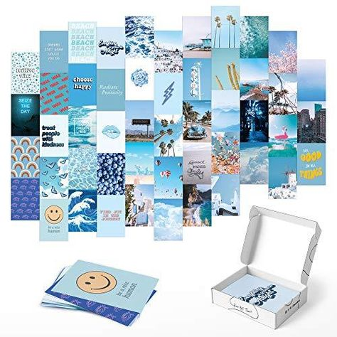 HAUS AND HUES Photo Collage Kit for Wall Aesthetic Décor Beach Aesthetic Posters & Aesthetic Pictures for Wall Collage   Aesthetic Wall Collage Kit Prints - Set of 50 / Blue