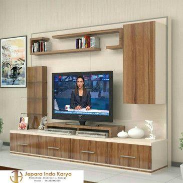 Model Background Tv Motif Hpl With Images Living Room Tv Unit