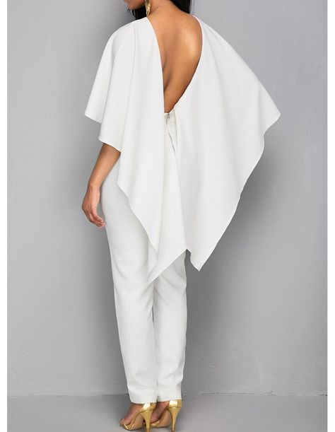 Frill Cape Backless White Bodycon Jumpsuit – FADCOVER