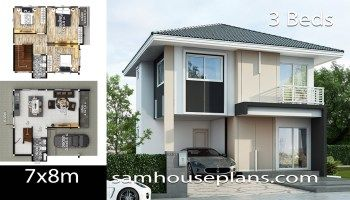 House Plans Idea 7x8 With 2 Bedrooms Sam House Plans Duplex House Design 4 Bedroom House Plans Bedroom House Plans