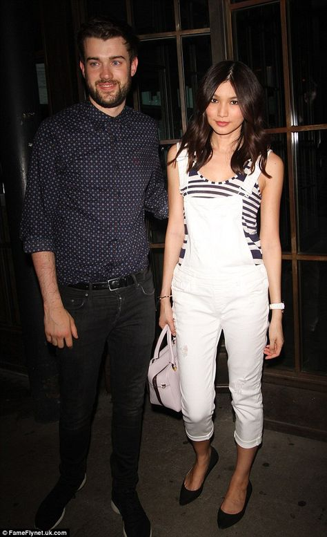 Gemma Chan in PAIGE Denim / Sierra Overall in Optic White Destructed