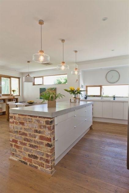 Red Brick Kitchen Island More Kitchenideas Farmhouse In 2019