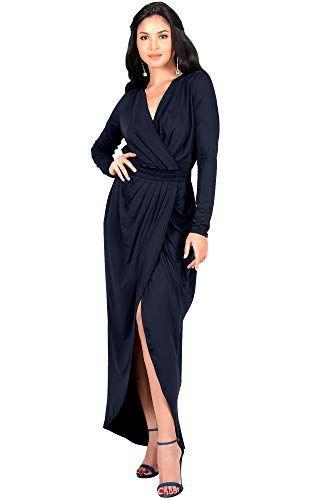 40fbeea5310 Beautiful KOH KOH Womens Long Sleeve Formal Wrap Draped Cocktail V ...